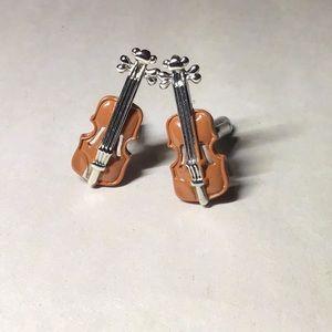 Violin fiddle cufflinks